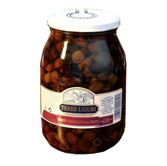 Taggiasca Oliven, 950g,  in ligurischen Olivenöl, Terre Liguri