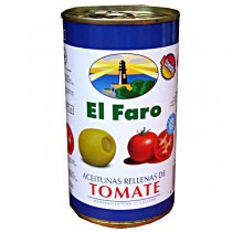 El Faro Grüne Oliven mit Tomaten, 350g
